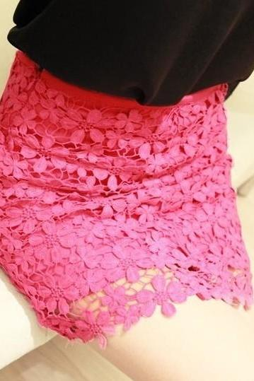 High Waisted Pink Lace Mini Skirt