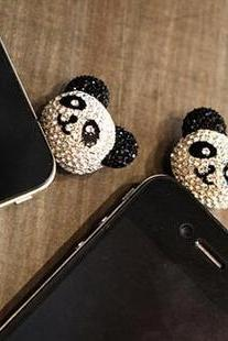 Cute Crystal Panda anti dust plug, iPhone charm iPhone accessory