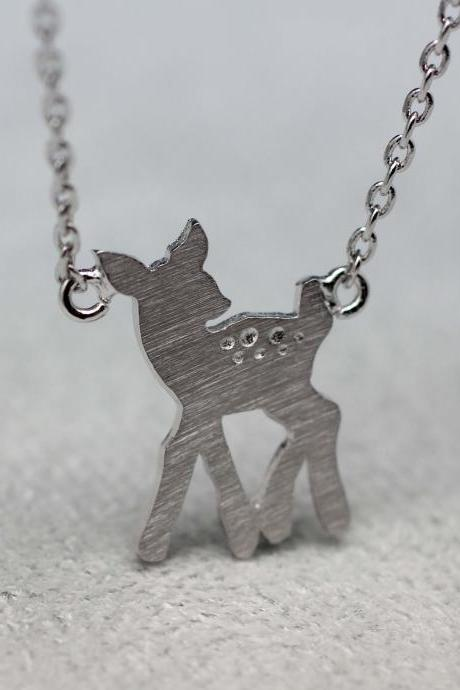 Baby deer Bambi charm pendant Necklace in silver