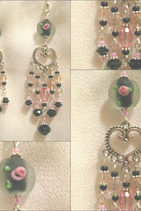 Black and Rose Crystal Chandelier Earrings