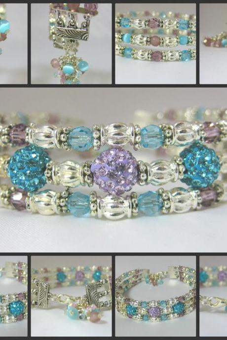 Delicate Lilac and Turquoise Crystal Pave and Genuine Tiger Eye Silver Cuff Bracelet