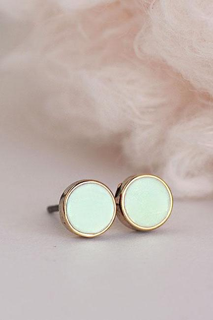Mini Tiny Round Mint Stud Earrings, Light Seafoam Green Minimalist Geometric Everyday Ear Posts