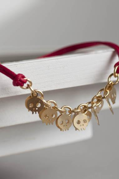Gold Skull Bracelet, Tiny Skeleton Charm on Red Leather Cord