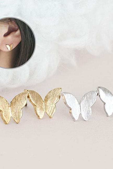 Tiny Dainty Butterfly Stud Earrings, Wings Ear Posts, Gold / Silver