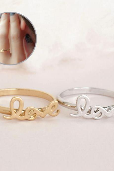 LOVE Ring, Gold or Silver, Friendship Ring, Adjustable Ring Size