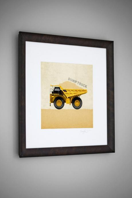 Construction Vehicle Yellow Dump Truck Transportation 8x8 Wall Art Room Decor Print