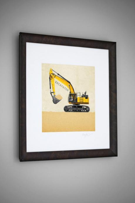 Construction Vehicle Yellow Excavator Transportation 8x8 Wall Art Room Decor Print