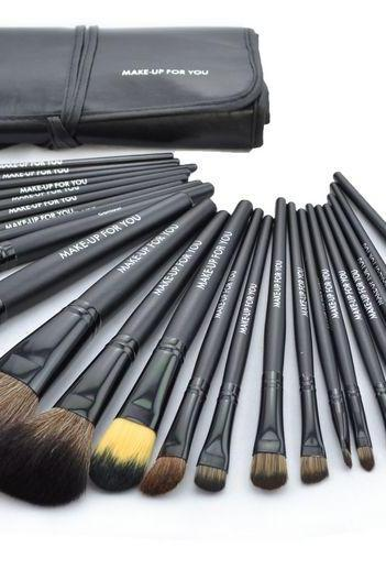 New 24 Pcs/Set Makeup Brush Cosmetic Set Kit Packed In High Quality Leather Case - Black