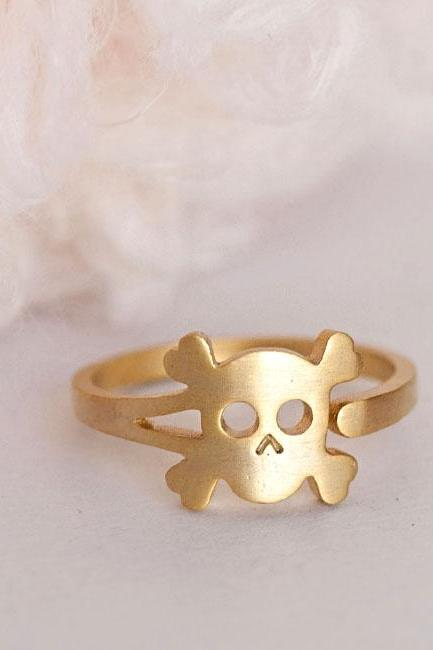 Gold Skull Ring, Skeleton Pirate Adjustable Ring