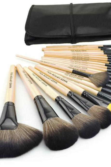 Free Shipping 24 pcs Make up Brush Kit Makeup Brushes Tools Set Black Leather Case