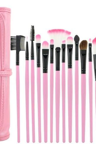 High Quality Pink 15 PCS Professioal Makeup Brush Set With Leather Case