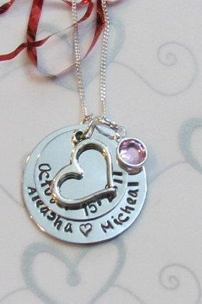 Couples Wedding Date Necklace