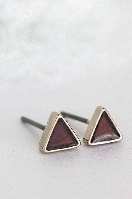 Mini Triangle Chocolate Brown Stud Earrings, Geometric Inspired