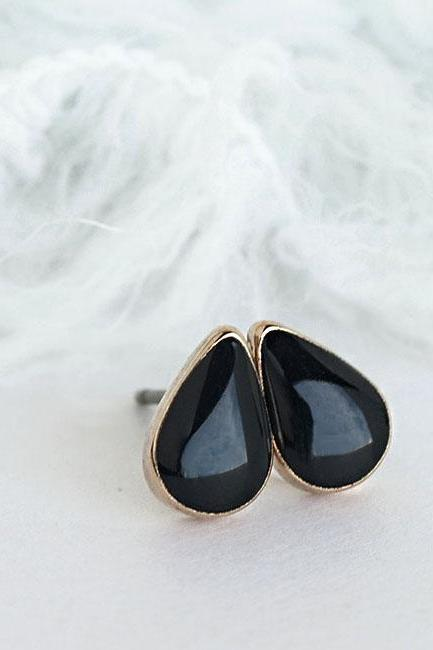 Mini Teardrop Black Stud Earrings, Jet Black Drop Ear Posts, Minimalist Jewelry
