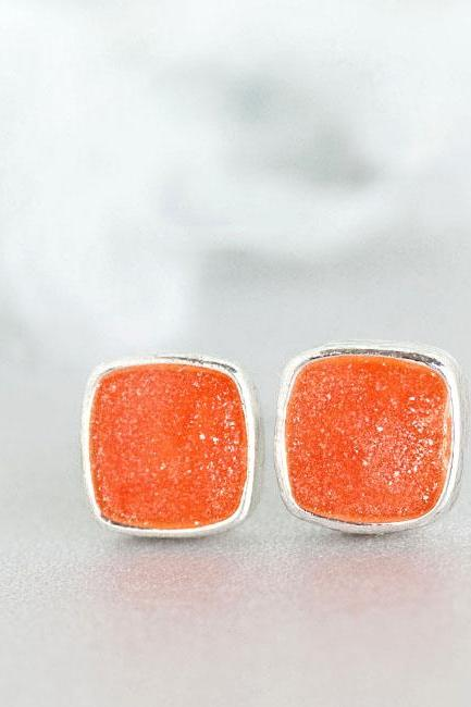 Mini Orange Square Stud Earrings, Tangerine Ear Posts