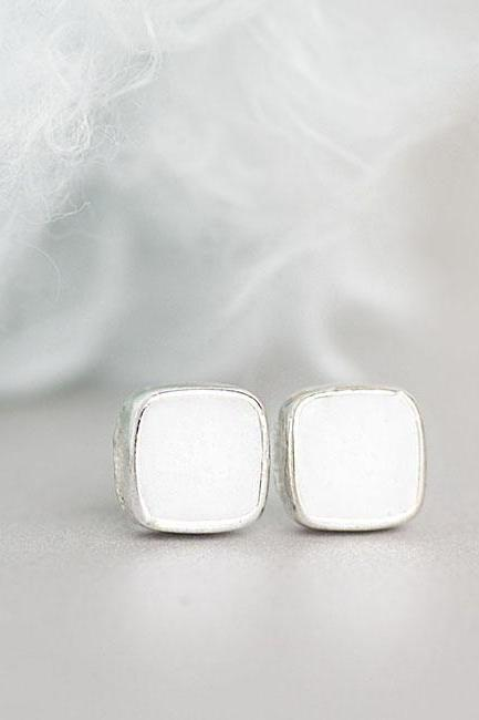 Mini White Square Stud Earrings, Minimalist Ear Posts