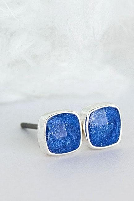 Mini Royal Blue Square Stud Earrings, Minimalist