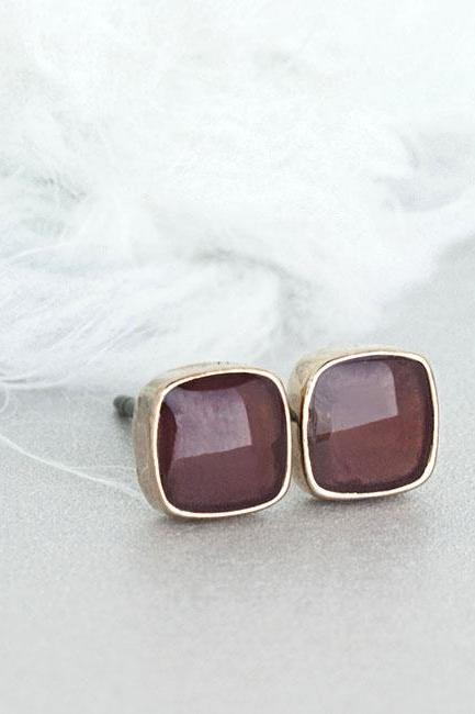 Mini Dark Brown Chocolate Square Stud Earrings, Everyday