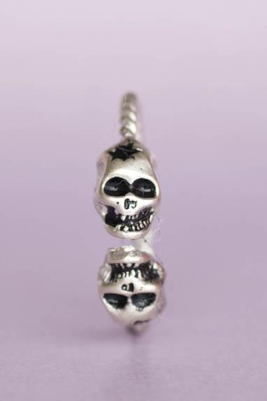 Silver 2 Skulls Gothic Ring, Skeleton Ring, Pirate Ring, Sugar Skull Ring, 2 skulls ring - adjustable ring
