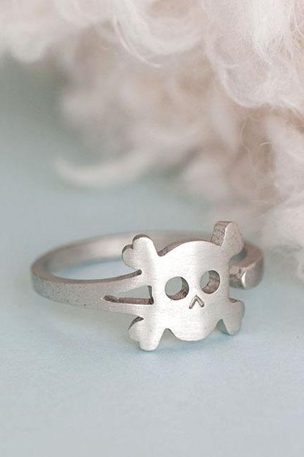 Silver Skull Ring, Skeleton Pirate Adjustable Ring