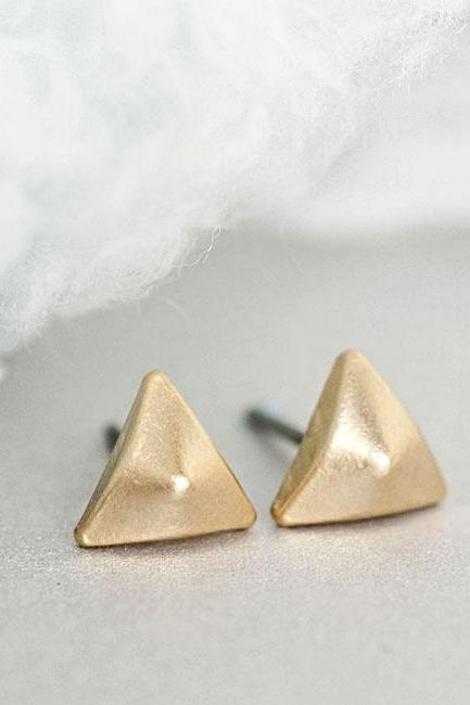Gold Triangle Pyramid Stud Earrings, Mini Triangle Studs, Arrow Studs, Geometric Inspired
