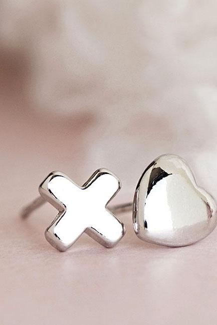 Silver Heart and Kisses Earrings, Hug XOXO Ear Posts