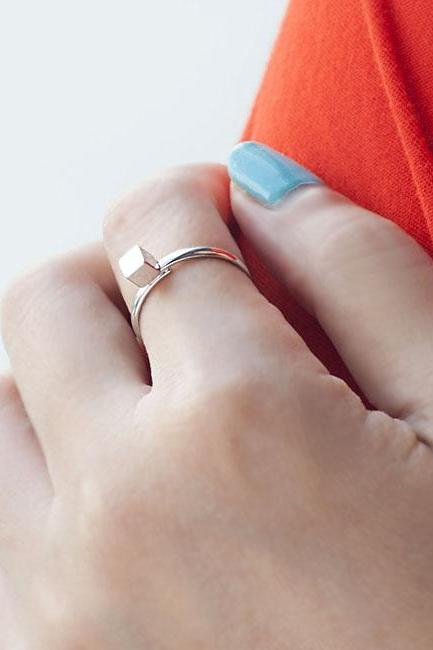 Mini Cube Ring, Geometric Square Stacking Adjustable Ring