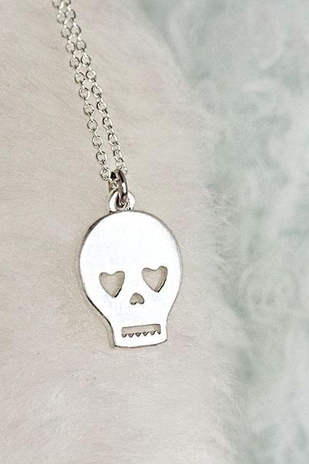 Silver Skull Necklace, Skeleton Sugar Skull Pirate Charm