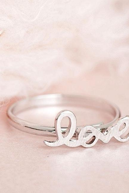 Silver LOVE Ring, Friendship Adjustable Ring