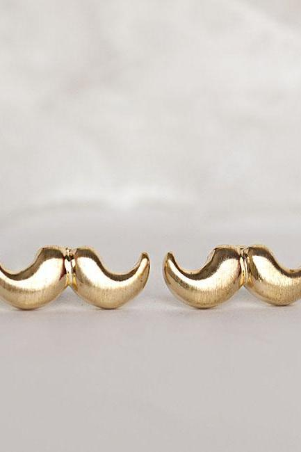 Gold Moustache Earrings, Mustache Ear Posts, Movember
