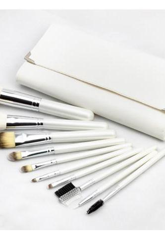 10Pcs Set Professional Cosmetic Make-up Brushes with Leather Bag - White