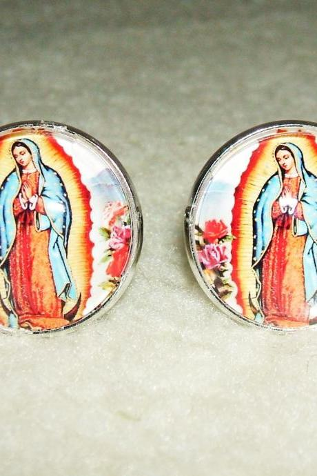 VIRGIN Of GUADALUPE Cuff Links Men Women CUFFLINKS Jewelry Altered Art Vintage Religious Icon