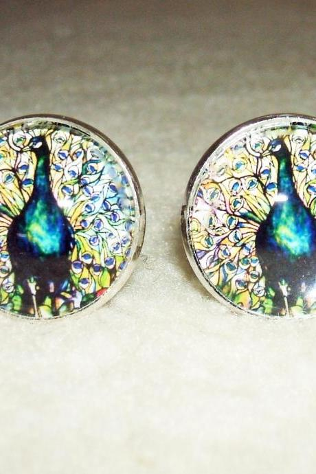Stained Glass PEACOCK Cuff Links Men Women CUFFLINKS Jewelry Altered Art Bird Feather