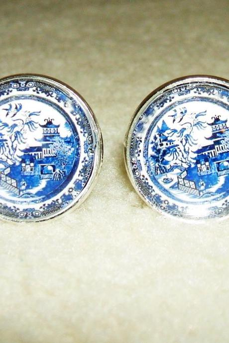 BLUE WILLOW Plate Cuff Links Men Women CUFFLINKS Jewelry
