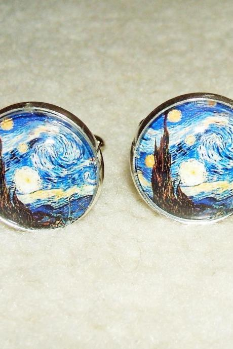 Van Gogh STARRY NIGHT Cuff Links Men Women CUFFLINKS Jewelry Altered Art