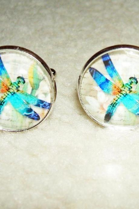 BLUE DRAGONFLY Cuff Links Men Women CUFFLINKS Jewelry