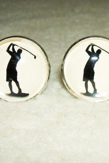 GOLF SWING Cuff Links Unisex Men Cufflinks I Would Rather Be GOLFING