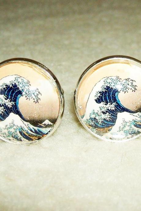 The GREAT WAVE Cuff Links Men Women CUFFLINKS Jewelry Vintage Japanese Block Print Altered Art