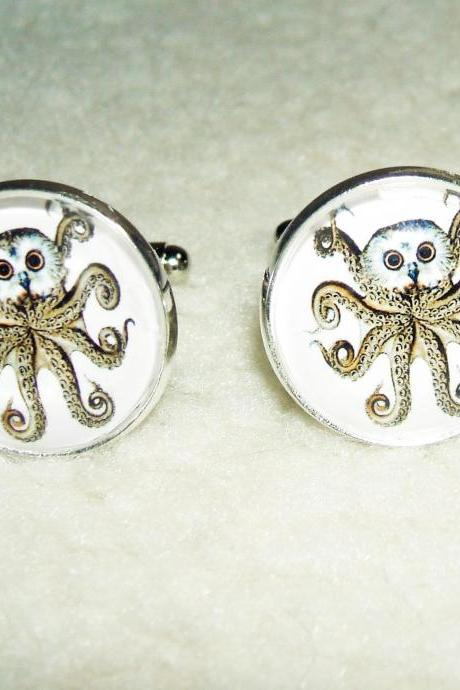 OWL OCTOPUS Cuff Links Unisex Men Women Cufflinks Steampunk Inspired Art OWLCTOPUS