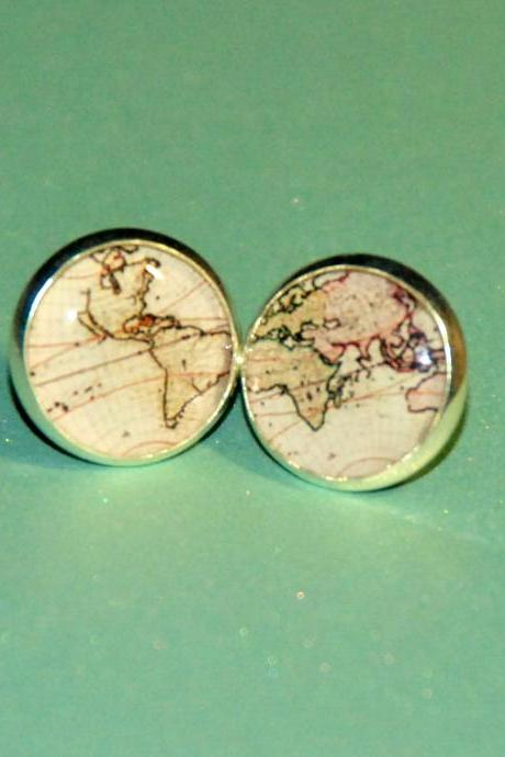 Vintage World Map Resin Post Silver Earrings