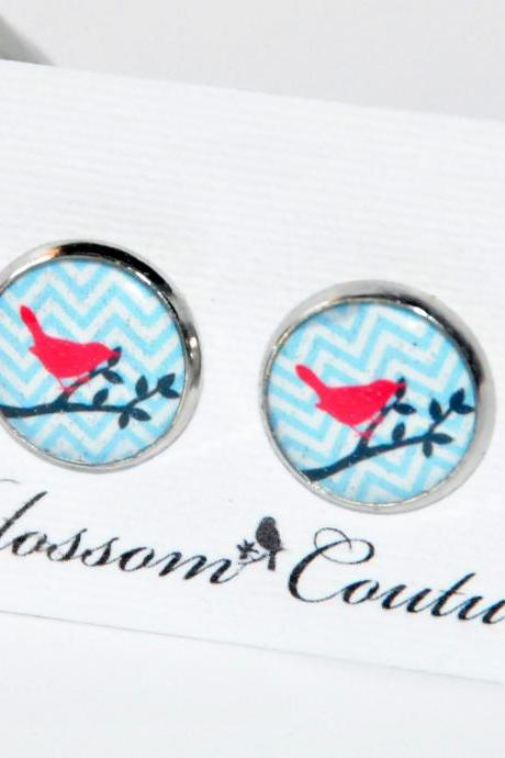 Red Bird on Blue Chevron Resin Silver Post Earrings