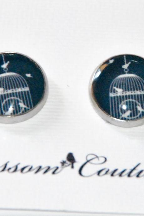 Bird Cage Silhouette Resin Post Silver Earrings