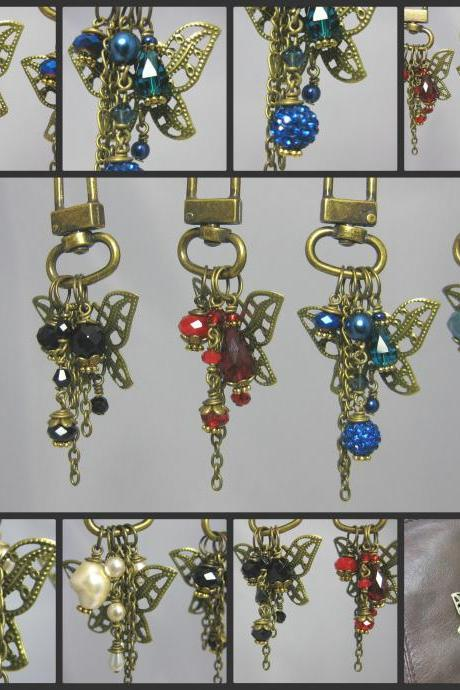 Antique Bronze Filligree Butterfly Crystal Beaded Handbag Charms