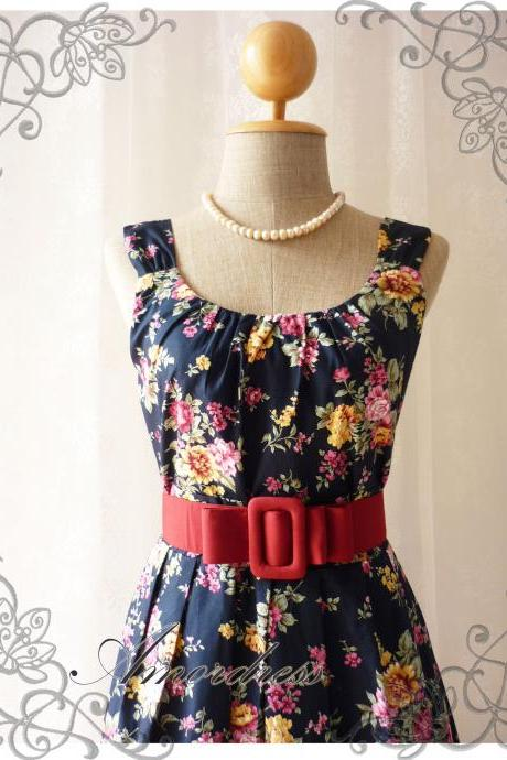 Blooming - Exotic Floral Dress Navy Dress with Yellow Pink Floral Summer Perfection Tea Dress Party Garden Wedding Cocktail Dress -S-M-