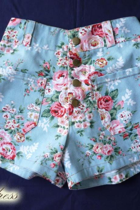 High Waist Shorts Floral Shorts Blue with Pink Floral Inspired Shabby Chic Shorts - -Size S-M- 12'SHORT LENGTH