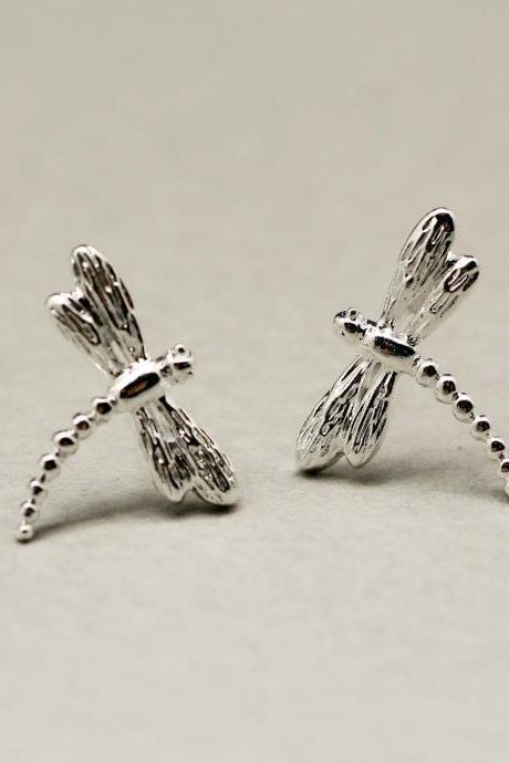 Dragonfly Post Earrings in Silver