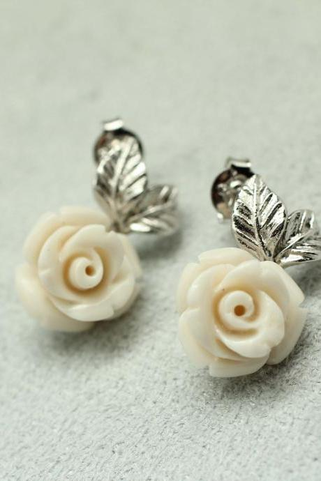Delicate Rose Jasper with metal leaf post Earrings in silver