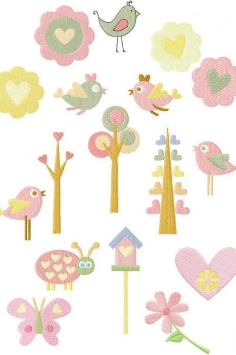 4x4 Set of 16 Spring Birds n' Trees, Flowers n' bugs Machine Embroidery Designs