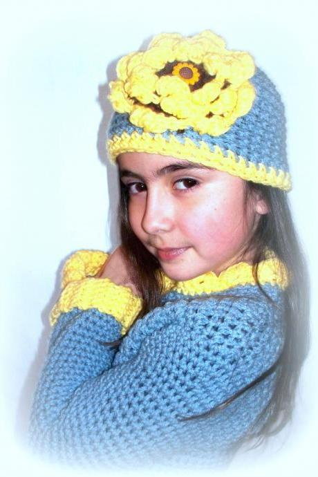 Little Girl Size 4/5 Sweater and Hat Set, Sunflower Bloom