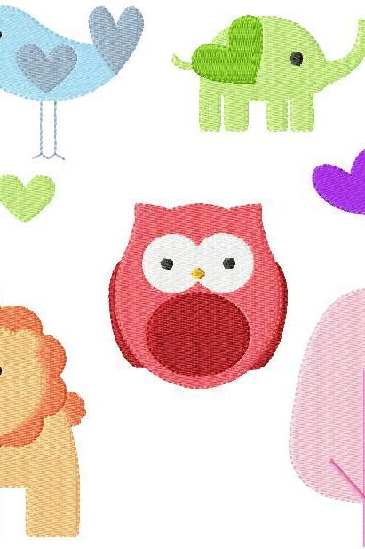 Set of mixed 4X4 Spring Animals Owls Birds Hearts Baby Shower Filled Machine Embroidery Designs